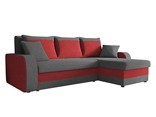 Ecksofa Kristofer, Design Eckcouch Couch! mit Schlaffunktion, Zwei Bettkasten, Farbauswahl, Wohnlandschaft! Bettfunktion! L-Form Sofa! Seite Universal! (Mikrofaza 0027 + Mikrofaza 0034)