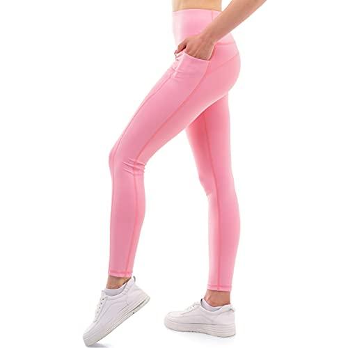 ZENACROSS Damen Slim Fit Leggings - Rosa L - Fitness, Yoga, Joggen, Workout