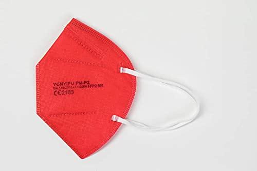 YUNYIFU FFP2 Maske rot | Mundschutz Maske FFP2 | ISO + CE zertifiziert | Atmungsaktiv | 10 Stück einzeln verpackt (Rot)