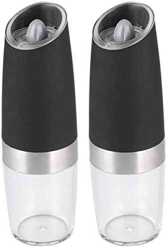 JeeKoudy Molinillo de Pimienta eléctrico, molinillos de Especias Recargables con luz LED con aspereza Ajustable, molinillos de Pimienta y Granos de Pimienta con botón pulsador de una Mano y Molinillo