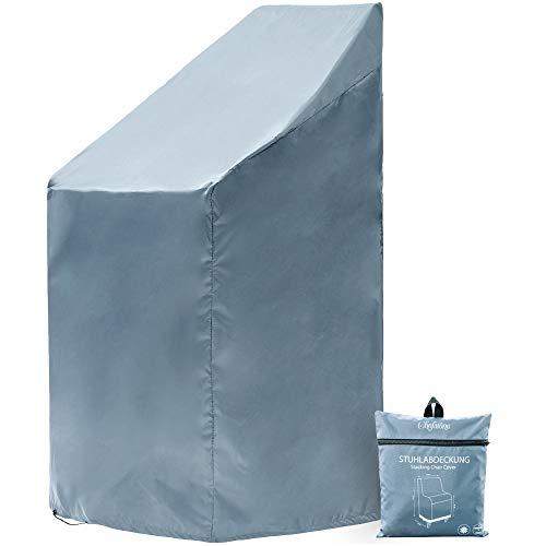 Chefarone Funda para sillas jardín - Funda impermeable para muebles de jardín - Fundas para sillas apilables - Tela funda gruesa para hasta 4 sillas - 67x67x110cm azul claro - Cordon cierre y funda
