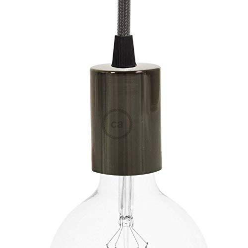 creative cables Kit Douille E27 cylindrique en métal - Conique, Perle Noire