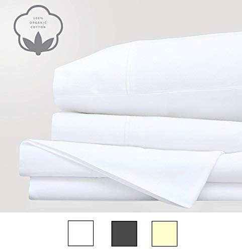 LINENWALAS Best Sheets - Christmas Deals - Organic Cotton Percale - Queen Sheets - Ultra Soft 300 Thread Counts Set of 4 Bed Sheets (King, White)