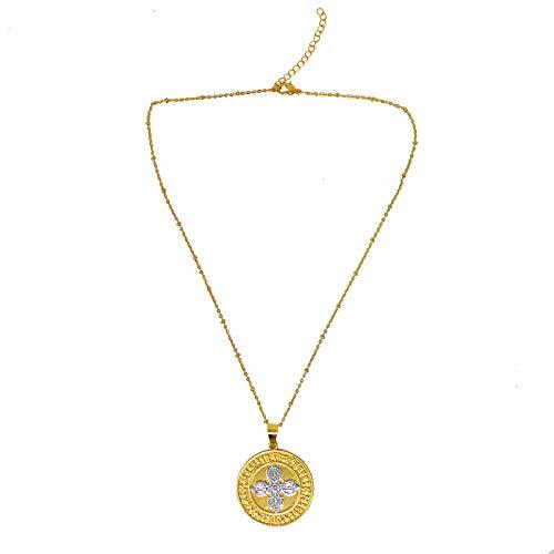 Juanxian Glück & Reichtum Goldhalskette Magisches Waffenmedaillon Hängende Runde Halskette W4322