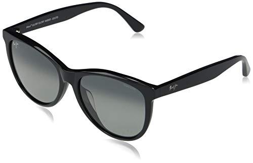 Maui Jim Glory - Gafas de sol para mujer, color negro brillante, polarizadas, talla M