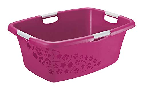 Rotho Flowers Wäschekorb 50l, Kunststoff (PP) BPA-frei, pink/weiss, 50l (65,1 x 48,6 x 26,2 cm)