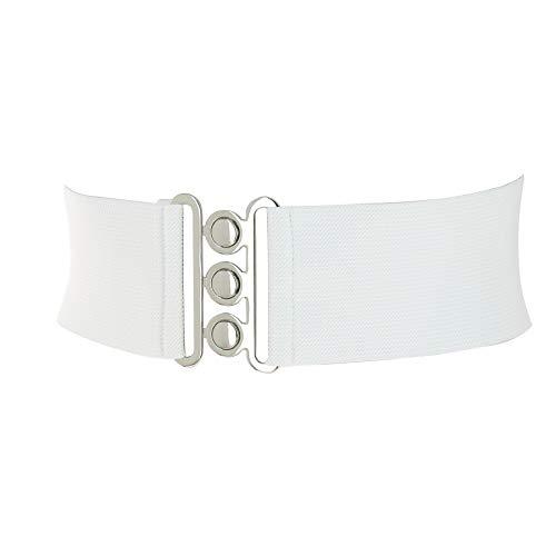 FASHIONGEN - Cintura donna 7,50 cm larga e Elastica, fatto in Francia, GLORIA - Bianco (Fibbia argento), Small/pantaloni da 36 a 39