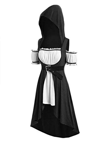 Mescara Cosplay Kostüm Damen Kurzarm Kleidung Mittelalter Retro Kleid mit Kapuze Damenkostüme Mittelalter für Renaissance Karneval Halloween Party Mittelalterkleid Große Größen (L, Schwarz)
