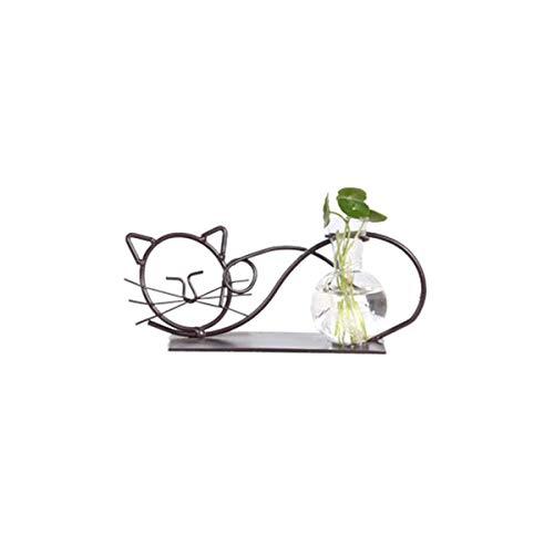 DEDC Vetro Vaso con Bulbo da Tavolo con Supporto in Metallo a Design di Gatto Carino per Piante Coltura Idroponica Decorazione Casa Ufficio Giardino (Stile A)