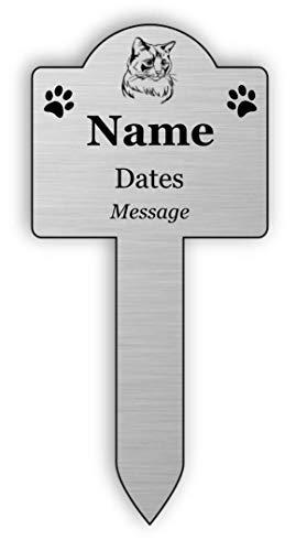 Personalisierbares Gedenktafel für Haustiere, silberfarben, für den Außenbereich, Garten, wasserdicht