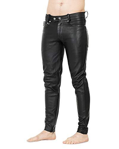 Bockle® 1991 Zipper Legs Schwarze Herren Lederhose mit Reißverschluss am Bein, Size: W30/L32