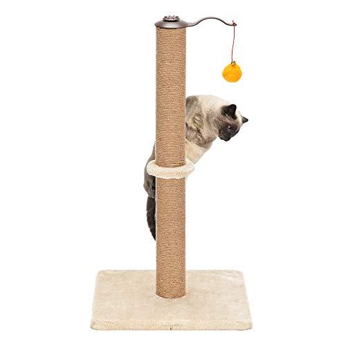 XSRK Torre para gatos, 26 pulgadas, giratorio 360 °, torre de escalada para gatos, árbol de gato, rascador de sisal, torre de escalada, color beige con dos juguetes