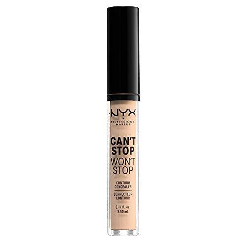 NYX Professional Makeup Correttore Can't Stop Won't Stop, Correttore Viso Liquido, Adatto a Tutti gli Incarnati, Vanilla, Confezione da 1