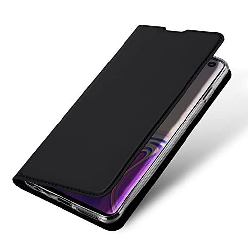 COPHONE - Funda compatible Samsung GALAXY S10 en cuero negro. Funda billetera de piel con cierre magnético para GALAXY S10