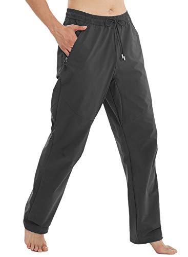 Arisonho Men's Workout Athletic Waterproof Pants Track Jogging Running Pants for Men with Zipper Pockets(Dark Grey,L)