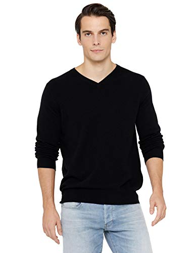 State Cashmere Men's Essential V-Neck Sweater 100% Pure Cashmere Classic Long Sleeve Pullover (X-Large, Black)