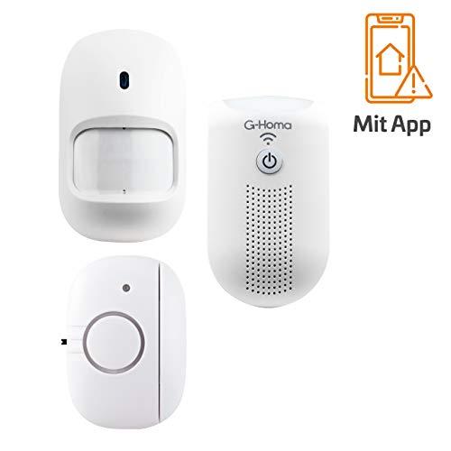 REV G-Homa WiFi-Alarm Starterset, 1x WiFi-Zentraleinheit, 1x Funk-Bewegungsmelder, 2x Funk-Tür-/Fensterkontakt, App für iOS und Android, der ideale Start ins Smart Home
