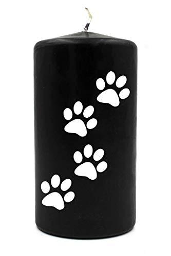 WB wohn trends Trauer-Kerze, 4 kleine Tier-Pfoten Hund Katze, schwarz weiß, 15cm d=8cm, Spruch-Kerze Gedenk-Kerze