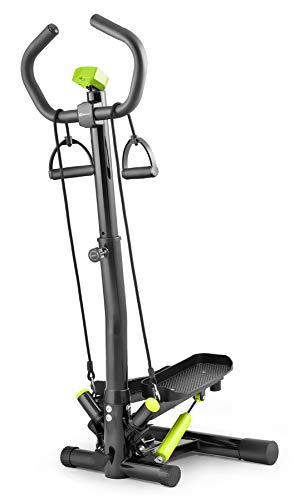 Hop-Sport Swing Side Stepper HS-055S mit verstellbarem Haltegriff Trainingsbändern Computer verstellbare Tritthöhe (Schwarz-hellgrün)