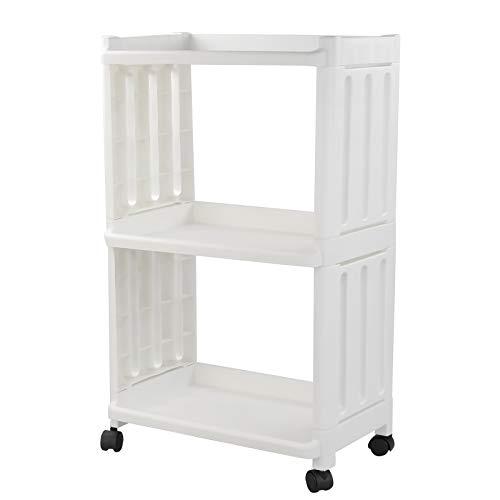 Jandson 3-Tier Rolling Storage Organizer, White Utility Shlef Cart with Wheels