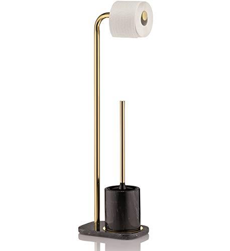 Kela 20021 Toilettengarnitur, WC-Bürste, Bürstentopf und Papierhalterung, Marmor/Metall/Edelstahl, Höhe 73 cm, Liron, Schwarz/Goldfarben