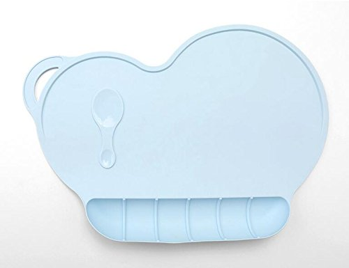 Naisidier Set de Table de Bébé en Silicone Mobile pour Enfants (Bleu)