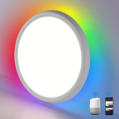 Oeegoo Smart LED Lámpara de techo regulable RGB, 30W 2400LM plafón LED, WiFi panel LED, lámpara de salón, compatible con Alexa o Google y aplicación y control por voz, Ultradelgado 3.2 cm
