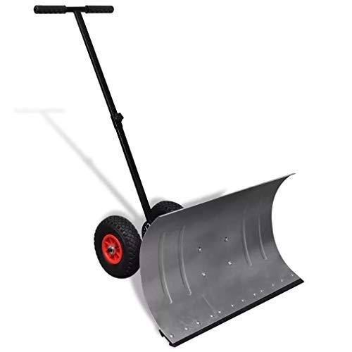 Schneeschaufel mit 2 Rädern, Schneepflüge, Stiel in 5 Winkeln einstellbar, effiziente große Schneeschieber, geeignet für Auffahrt oder Straßenreinigung, Verzinktem Metall, Schaufelröße 74 x 46 cm