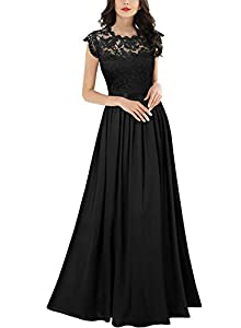 SIZE RECOMMEND: US 4/6(Small), US 8/10(Medium), US 12/14(Large), US 16(X-Large), US 18(XX-Large) Suit for Wedding Party,Bridesmaid and Prom. Sleeveless, See-Through Lace Design,Contrast Different Fabric. Vintage Formal style, Maxi Dress Please Put In...