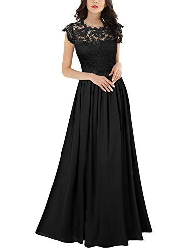 MIUSOL Damen Elegant Ärmellos Rundhals Vintage Herbst Winter Hochzeit Chiffon Faltenrock Langes Kleid Schwarz Gr.S