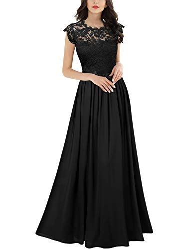 Miusol Women's Formal Floral Lace Evening Party Maxi Dress (Medium, Black)