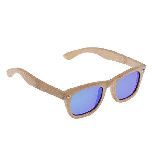 Sharplace Hombres Mujeres Bamboo UV 400 Gafas de Sol Polarizadas Gafas de Madera con Caja - Azul