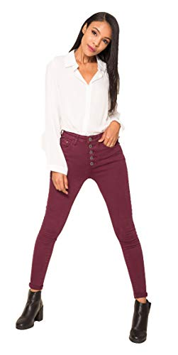 Crazy Age Damen Jeans Hose | 5 Pocket Denim | High Waist Jeans | Frauendenim in Herbstfarben |Super Skinny | Ultra Soft |Skinny | Stretch (Brombeer, S~34)