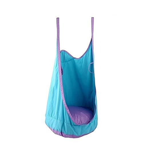 LYLY Columpio de podio para niños con gancho y cuerda para colgar en la silla, hamaca para interiores, exteriores y patio trasero (color: azul)