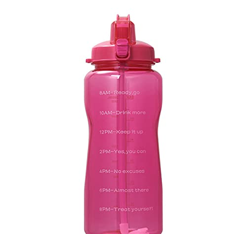 Large 128oz (When Full) Motivational Water Bottle with Time Marker & Straw,Leakproof Tritan BPA Free Water Jug,Ensure You Drink Enough Water Daily for Fitness,Gym and Outdoor Sports Pink