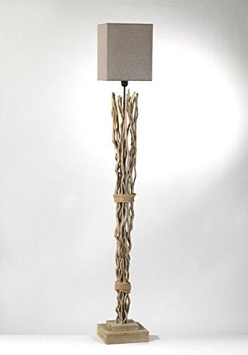 ONLI - Lampadaire Marica branches en bois avec abat-jour en tissu couleur sable. Style Nature et moderne.