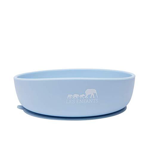 Les Enfants Silikonschüssel, Silikonteller mit Saugnapf für Babys und Kinder, Rutschfester Teller, Silikon-Esslerngeschirr-Set, BPA Frei , Blau