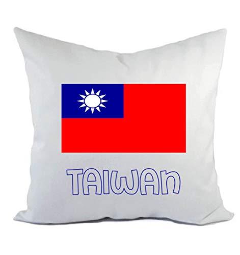 Typolitografie Ghisleri kussen wit Taiwan met vlag kussensloop en vulling 40 x 40 cm van polyester