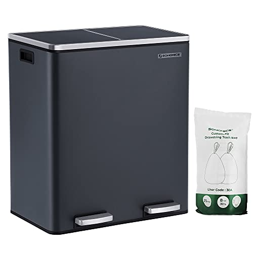 SONGMICS Dual Rubbish Bin, 2 x 30L Recycling Bin, Metal Pedal Bin, with Dual Compartments, Plastic Inner Buckets and Hinged Lids, Handles, Soft Closure, Airtight, Grey LTB60GS