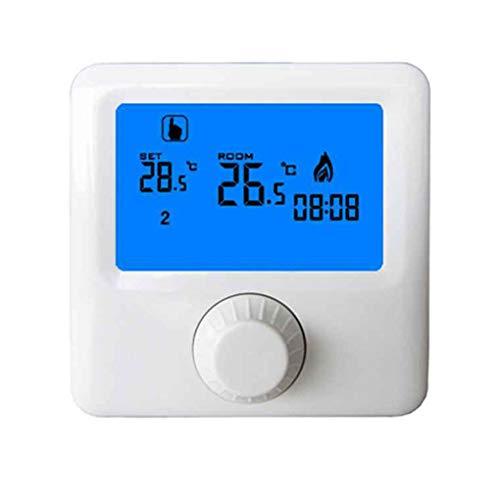 Termostato programmabile Regolatore di temperatura intelligente programmabile digitale a 7 giorni con luce blu e display grande per sistema di riscaldamento a caldaia sospeso White