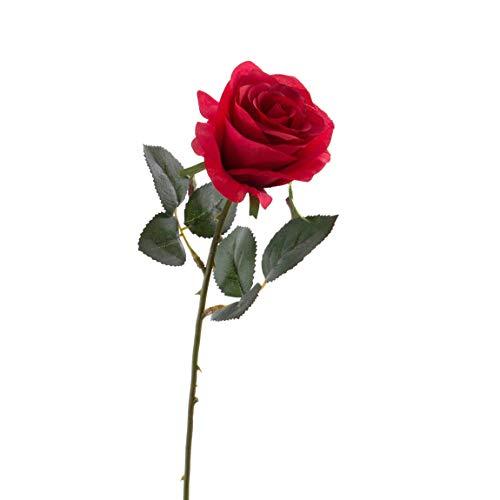 artplants.de Künstliche Rose Simony, rot, Textil, 45cm, Ø 8cm - Kunstblume