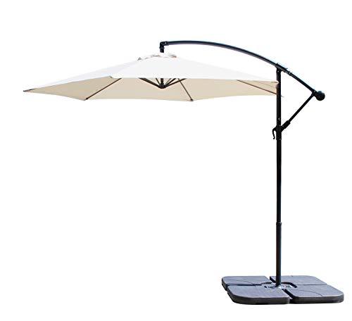 All Seasons Gazebos Ross James premium garden parasol umbrella with crank handle including base weight (Beige)