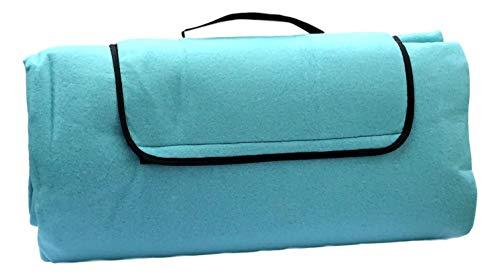Alpenwolle XXL Picknickdecke Outdoordecke Fleece wasserdichte Unterseite 200 x 200 cm Uni (Türkis)
