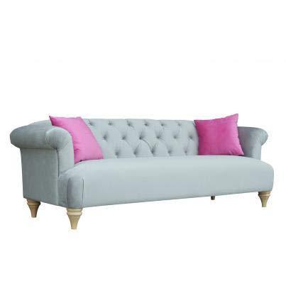 Luxus Home And Garden - Sofá de 3 plazas con botones (tela de terciopelo, 225 x 87 x 78 cm), color gris