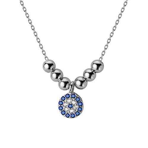 mingtian 100% joyería de Plata esterlina 925 6 mm Ojo Azul CZ Colgante 40 cm Collar de clavícula Corta para Regalo de Boda de Mujer