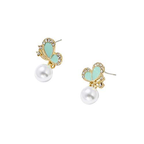 strimusimak Pendientes de tuerca con forma de mariposa y colgante de perlas de imitación con forma de mariposa, para niñas, regalo de cumpleaños, color verde