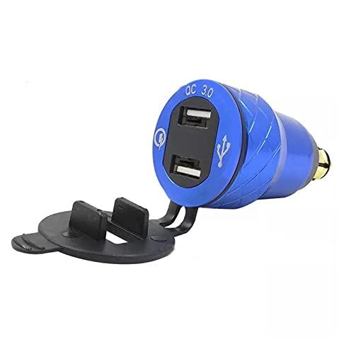YINLONG Long DIN Hella QC3.0 Dual USB Cargador de Motocicleta Enchufe del Enchufe Adaptador de Encendedor de Cigarrillos Ajuste para BMW F800GS R1250GS R1200GS / RT (Color : Blue)