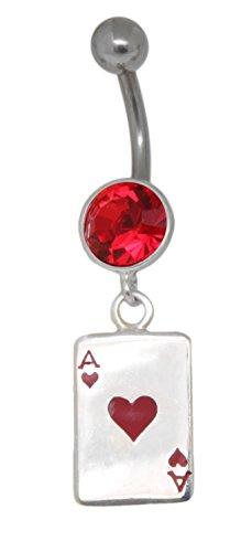 Bauchnabelpiercing Steinfassung aus Silber Kristall rot Anhänger Spielkarte Herz AS
