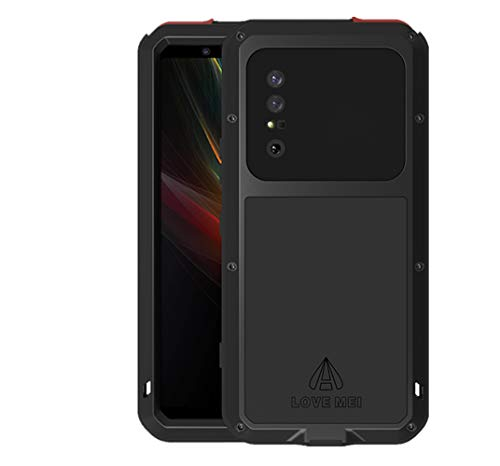LOVE MEI for Sony Xperia 1 II (2020) Case, Military Heavy Duty Shockproof Dust/Dirt Proof Hybrid Aluminum Metal+Silicone+Tempered Glass Drop Protection Case Cover for Sony Xperia 1 II (Black)