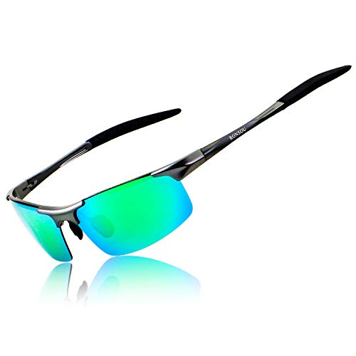 Ronsou Men Sport Al-Mg Polarized Sunglasses Unbreakable for Driving Cycling Fishing Golf gray frame/green lens